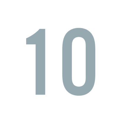 Green number 10 in white square